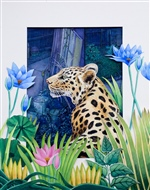 Amur Leopard with Naive Flowers