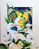 Egrets with Calla Lilies