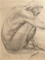 Figure drawing,Male squatting.