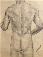 Figure drawing- Male standing, rear view.
