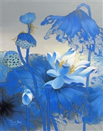 Blooming Lotus in Blue